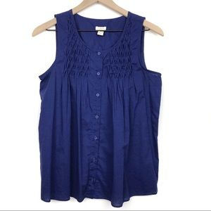 J. Crew Factory Smocked Gathered Button Down Top